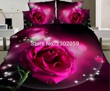 High Quality 3D Big Pink Rose Flower Total 4 Pcs Quilt Cover Bed sheet Pillowcase King Queen Bedding Set