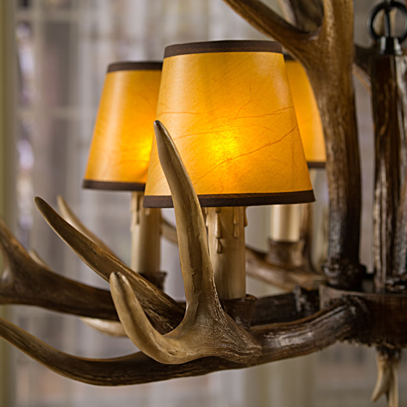Europe E14 6 8 10 Heads American Deer Horn Antler Pendant Lamp Resin Antler Lampshade Parlor Hall Decor Suspension Luminaire2