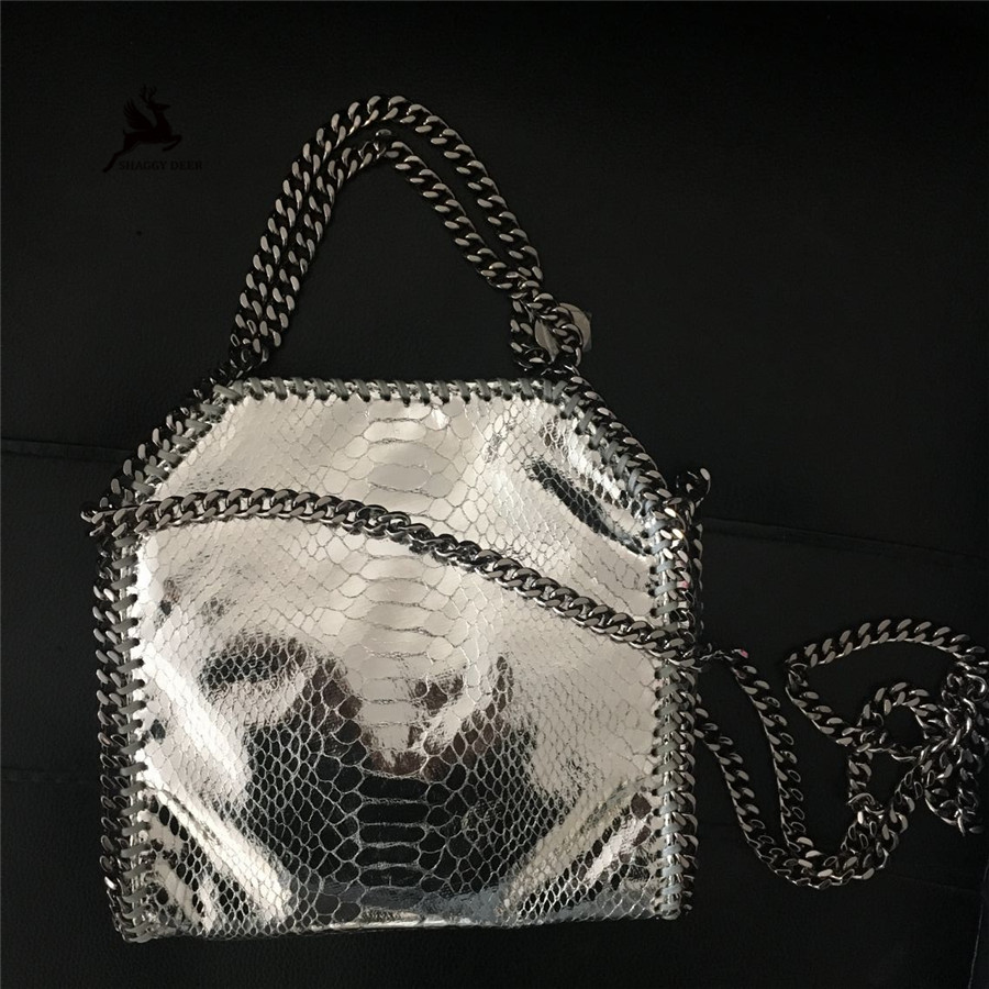 Exclusive Sliver Serpentine Shaggy Deer Brand PVC falabellas Mini 18cm Crossbody Chain Handle Bag<br>