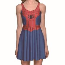 Europe Spider Man Sexy Women Tennis Sports Pleated Dress Vogue Slim Elastic Blue Sleeveless Skater Dresses Party Sports Dress
