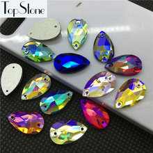 All Sizes Colored AB Teardrop Sew On Rhinestones Flatback 2 Holes Droplet Glass Sewing Crystal Beads 7x12,11x18,13x22,17x28mm