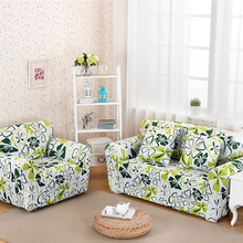 Green Flower Nature Style Sofa Cover Big Elasticity Couch Cover Loveseat Machine Slip-resistant Drawing Room Decorate Anti Mite