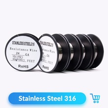 Volcanee 30feet/roll Stainless Steel 316L Wire Heating Coil Wire 22 24 26 28 30 32GA Wires Coil for DIY RDA RTA Atomizer(China)