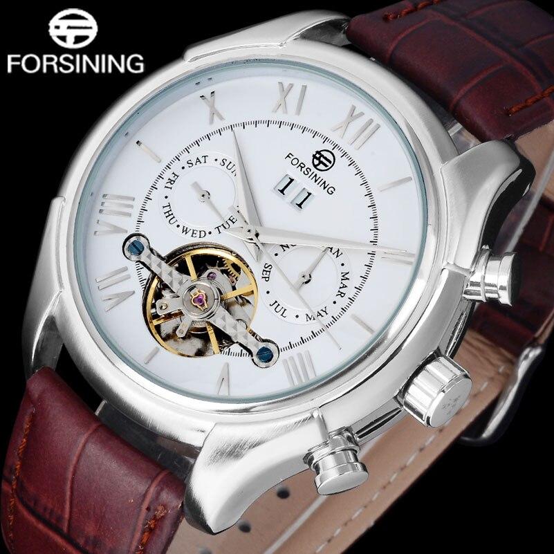 FORSINING Luxury Brand Watches Men brown genuine leather silver roman numerals relogio masculino tourbilion auto self-wind watch<br>