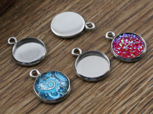 20pcs 12mm Inner Size Stainless Steel Material Simple Style Cabochon Base Cameo Setting Charms Pendant Tray (A2-48)