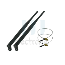 2  6dBi RP-SMA Dual Band WiFi Antennas + 2 U.fl Cables for Mod Kit Asus / D-Link Router