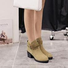 One Pair of Boots Women's Winter Snow Ladies Buckles Low Heel Ankle Boots Shoes
