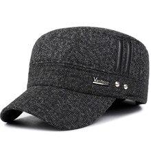 4c35d649da6 VORON Winter cotton hats men caps hat with earflaps keep warm flat roof baseball  caps old men thicken snapback Russia casquette