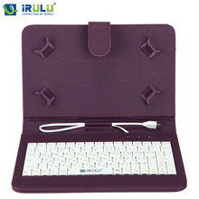 "Original iRULU RUSSIAN KEYBOARD Case for 7""Tablet PC Pad Leather Cover With Micro USB Keyboard For Using Russian People"