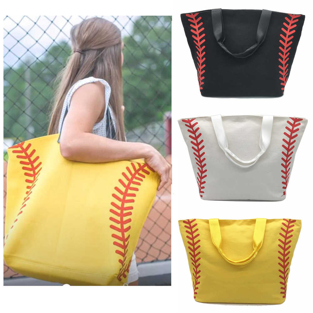 Super Large High Quality Softball Baseball Canvas Cotton Girls Tote Bags  Team Players Accessories Yellow White b8a694bf6dcd