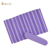 50Pcs/Lot Mini Nail Files Buffer 100/180 Purple Sanding Washable Emery Board Professional Sponge Nail Buffer Sandpaper Art Tools(China)