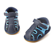 Delebao 2017 Summer New Design Baby Boy Sandals Connect With Stripe  Navy Blue And Sky Blue Hook & Look Baby Shoes