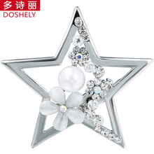 DOSHELY Silver-color Brooch Jewelry Five pointed star Crystal Imitation pearl Opal flower Hijab Lapel pins Scarves buckle clips