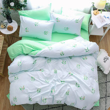 Flowers And Plants Duvet Cover Bed Sheets Pillow Cases Single Double Queen King Size Soft Bedding Set Flat Sheet Green 3pcs/4pcs(China)
