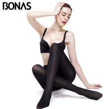 Buy BONAS 120D Opaque Tights Spring Sexy Velvet Seamless Pantyhose Women Warm Tights Lady Elasticity Spandex Black Resistant Tights