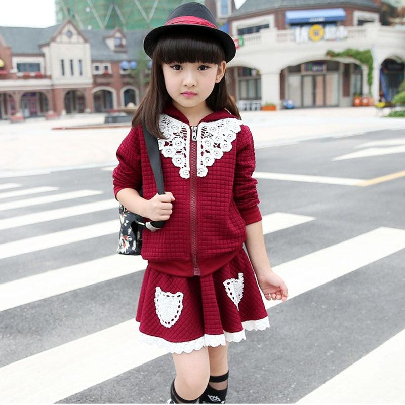 Girl Sweater Lace Skirt Suit Korean Autumn Girls Princess Clothing Sets long sleeve Meisjes Kleding Sets  Girl Cute Skirt Suit<br><br>Aliexpress