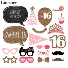 Lincaier 20 Pieces Sweet Girl 16 Birthday Bling Pink Paper Photo Booth Props 16th Funny Party Decoration Supplies Moustache Cake
