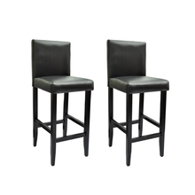 iKayaa Set of 2 Modern Bar Stools in Black Color of Artificial Leather Bar Stools ES Stock