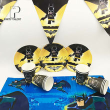 Party supplies 18pcs for 8 kids Batman theme birthday party tableware set, 8plate+8cup+1tablecover+1banner(China)