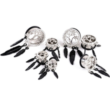 Women Punk Rhinestone Leaves Piercing Ear Tunnels Plugs Gauges Ear Stretching Kit