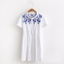 Hot Sale Women's Fashion Summer Casual Shirts Dress Short Sleeve Classical Flower Embroidery  Knee Length Ladies White Dresses