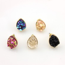 Rock Crystal Druzy Earrings Hot New Fashion Jewelry Crystals Druzy Button Stud Earrings for Women(China)