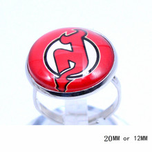 New Jersey Devils Ring Ice Hockey Charms NHL Sport Jewlery Round Glass Dome Silver Plated  Ring For Women Girl Adjustable