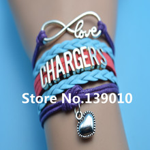 Infinity Love Chargers Heart AFC Team Charm Bracelets Blue Red Purple Leather Rope Customize NCAA Sports Wristband Brand Bangles