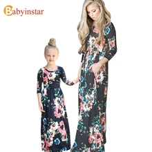 Babyinstar Mother Daughter Floral Maxi Dress 2017 New Spring Autumn Long Dress Family Look Fashion Family Matching Outfits(China)