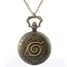 Cindiry HOT Anime Naruto Vintage Leaf Figure Pocket Watch Mens Watch with Quartz Pocket Watch Necklace Pendant Women Men's Gift(China)