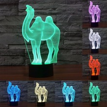 3D Effect Camel Style LED Night Light 3D Color Changing Lamp Table Lamps Atmosphere Desk Light Bedside Lamp Home Decoration(China)