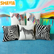 Hot sale Zebra Creative Cushion Covers Animal Texture Square Pillowcase Linen Car/ Chair/Bed/Sofa Waist Pillow Covers 45X45cm(China)