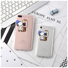 Cute cartoon relief Snoopie dog pattern Air cushion soft TPU back cover cases for iphone 6 6s plus 7 plus Mobile phone cases