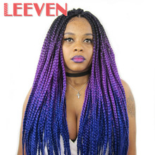 Leeven Jumbo Braids Ombre Kanekalon Synthetic Braiding Hair Extension Crochet Expression Black Pink Purple Fiber 24'' 1piece/lot(China)