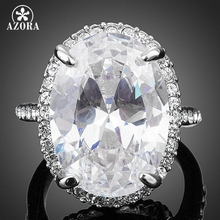 AZORA New Fashion Design With Big Clear Cubic Zirconia Egg Shaped Engagement Ring TR0130(China)