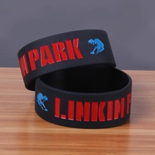 Rap and Rock Style Band Linkin Park silicone rubber bracelet Wide debossed cheap rubber bangle Fashion wristband sport