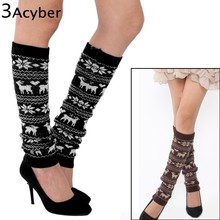 Women's Winter Knitting Snowflake Deer Shape Deer Leg Warmers Footless Knee Socks Boots Cuffs mid Liner Boot Socks u2