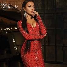 Free Shipping! 2018 New Luxe Heavy Work Rivet Embellished Vneck Long Sleeves Wholesale Women Celebrity Party Bandage Dress(China)