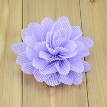 4inch chiffon flowers DIY hair flowers for headbands kids girls accessories wedding party embellishments royal blue neon pink