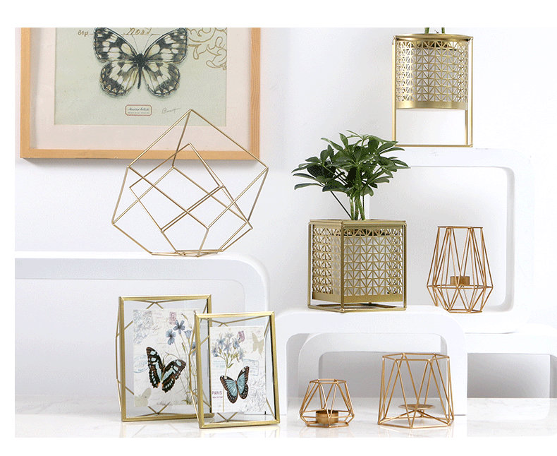 Großhandel Kreative Moderne Glas Bilderrahmen Set Geometrische Gold ...