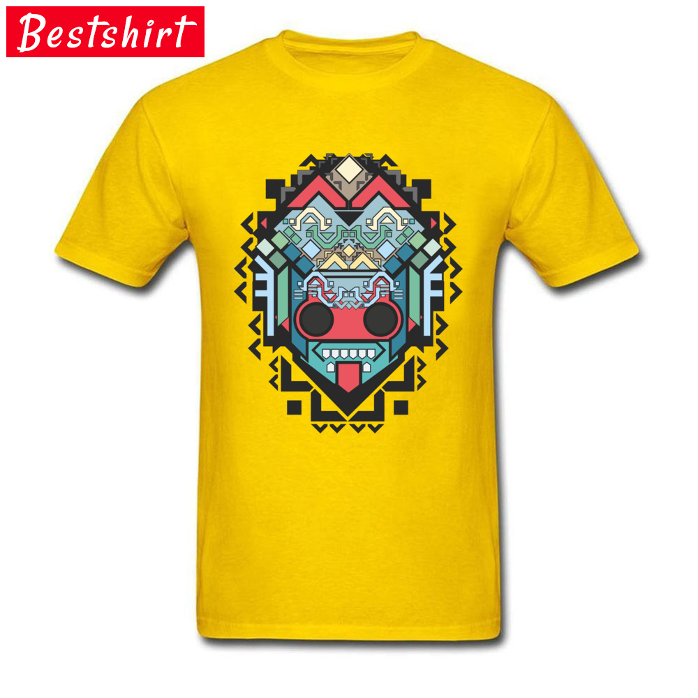 Men Retro Tops & Tees O-Neck Summer 100% Cotton Fabric T-shirts Printed On Abstract geometric colored inca art Clothing Shirt Abstract geometric colored inca art yellow