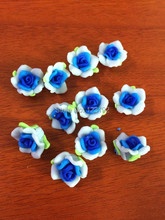 Free Shipping 30pcs Light Blue+Dark Blue Polymer Fimo Rose Shape beads Clay Spacer Beads 15mm For Jewelry Making Craft DIY(China)