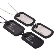 Unique Designer Blank Double Military Army Style Black 2 Dog Tags Chain Mens Pendant Necklace items Jewelry Accessories(China)