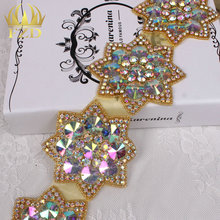 (10yards) FANGZHIDI Wholesale 1 Yard Sew On Hot Fix ab crystal rhinestone trimming For Wedding Dresses Garment Accessories