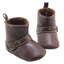 Baby Boots Leather Baby Boy Girls Shoes Soft Warm Kids Toddler Shoes Baby winter soft underwear anti-skid shoes(China)