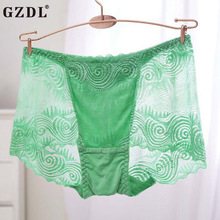 Buy GZDL Hot Ladies Underwear Boxers Knickers Lace Floral Transparent Breathable High Ruffles Lot Sexy Women Panties Lingerie NY279