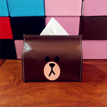 Useber Creative Cartoon LINE Brown Bear Leather Tissue Box Tissue Sets Car Home Can Be Drawn Paper Towels Storage Box(China)