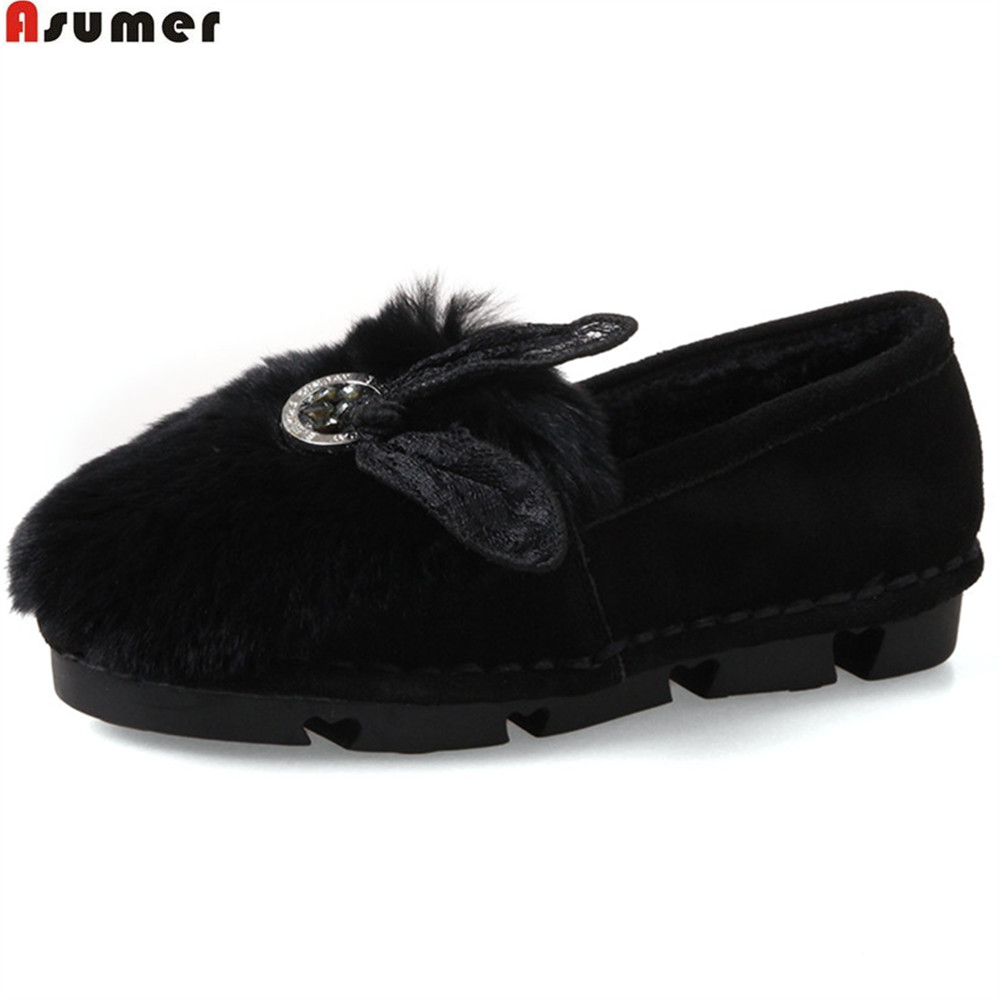 ASUMER black red gray fashion autumn winter ladies casual shoes round toe comfortable fur women suede leather flats shoes<br>