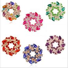 5Pcs/Lot Fashion Corsage Ornaments Shiny Rhinestones Crystal Bauhinia Women's Circle Brooches Wearing Wedding Party Decorations