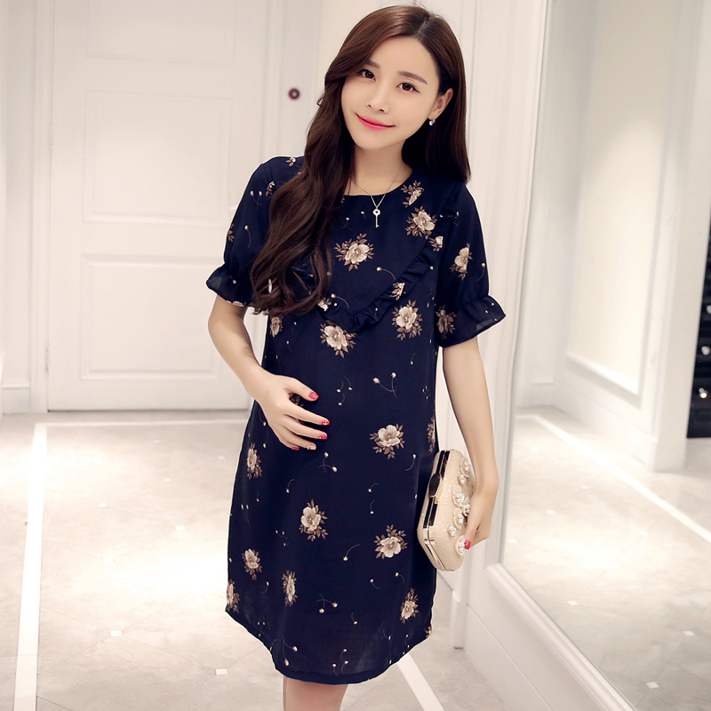 2016 new style flower color maternity chiffon blouse outside Maternity Skirt<br><br>Aliexpress